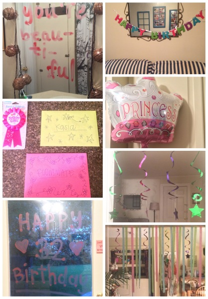 My roommate stayed up way passed her bedtime to decorate the house so it was a birthday explosion when I woke up!