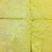 I made a lemon Texas sheet cake (with sparkles) to bring to share with my coworkers.